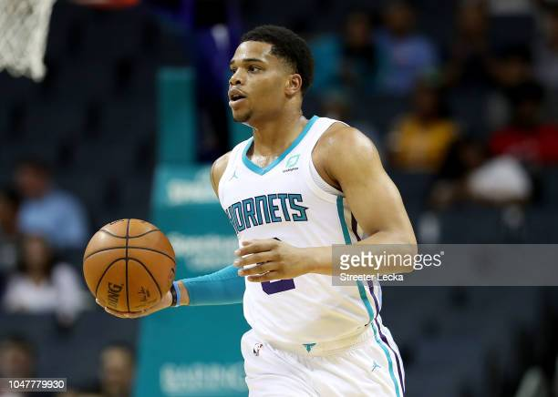 Miles Bridges of the Charlotte Hornets brings the ball up the court against the Chicago Bulls during their game at Spectrum Center on October 8 2018...