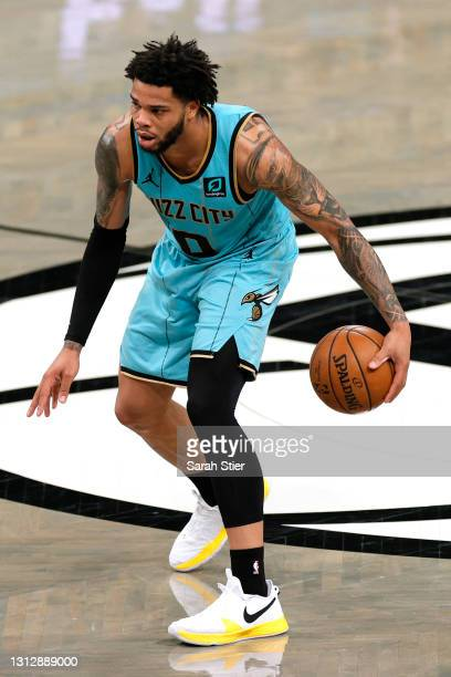Miles Bridges of the Charlotte Hornets dribbles during the second half against the Brooklyn Nets at Barclays Center on April 16, 2021 in the Brooklyn...