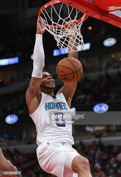Miles Bridges of the Charlotte Hornets dunks against the Chicago Bulls at the United Center on February 20, 2020 in Chicago, Illinois. NOTE TO USER:...