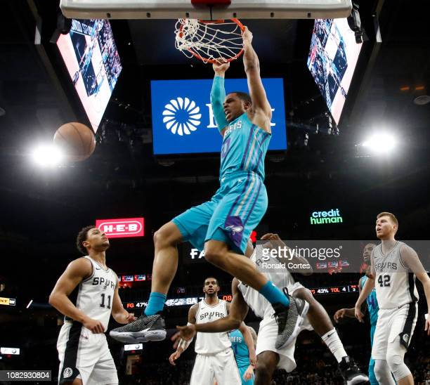 Miles Bridges of the Charlotte Hornets dunks against the San Antonio Spurs at AT&T Center on January 14, 2019 in San Antonio, Texas. NOTE TO USER:...