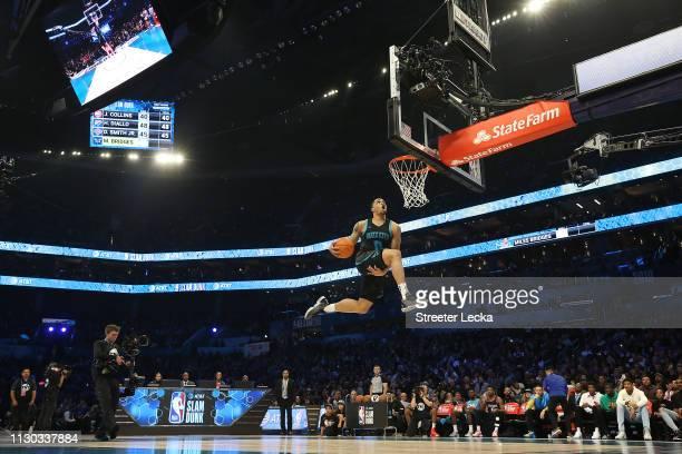 Miles Bridges of the Charlotte Hornets dunks during the ATT Slam Dunk as part of the 2019 NBA AllStar Weekend at Spectrum Center on February 16 2019...