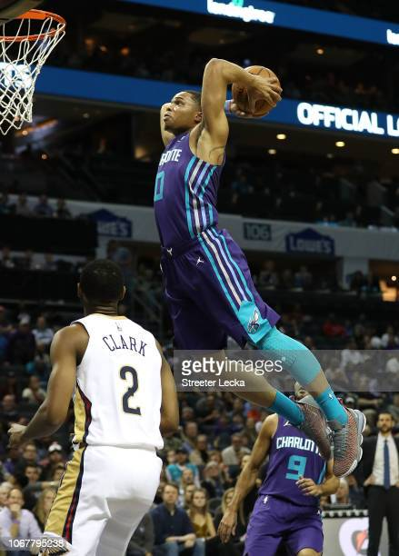 Miles Bridges of the Charlotte Hornets dunks the ball against the New Orleans Pelicans during their game at Spectrum Center on December 2, 2018 in...