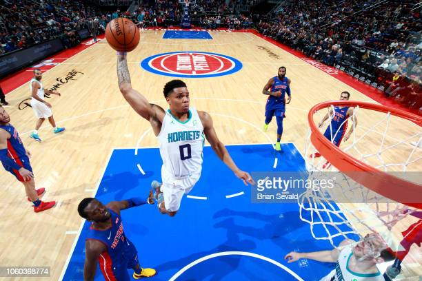 Miles Bridges of the Charlotte Hornets dunks the ball against the Detroit Pistons on November 11 2018 at Little Caesars Arena in Detroit Michigan...