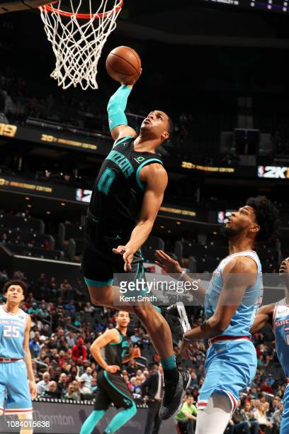 Miles Bridges of the Charlotte Hornets dunks the ball against the Sacramento Kings on January 17 2019 at Spectrum Center in Charlotte North Carolina...