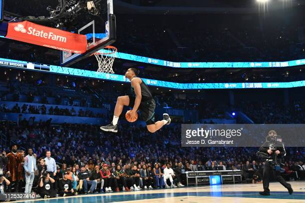 Miles Bridges of the Charlotte Hornets dunks the ball during the 2019 AT&T Slam Dunk Contest as part of the State Farm All-Star Saturday Night on...