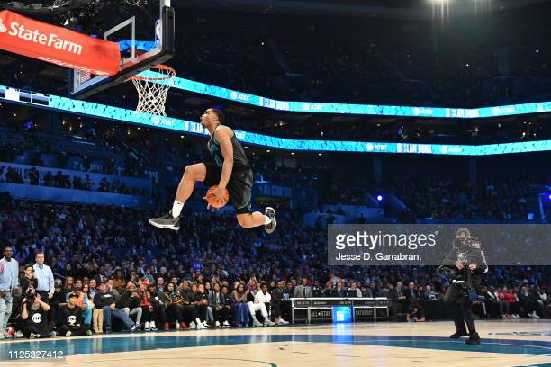 Miles Bridges of the Charlotte Hornets dunks the ball during the 2019 ATT Slam Dunk Contest as part of the State Farm AllStar Saturday Night on...