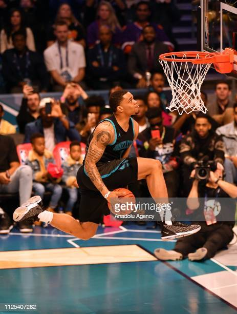 Miles Bridges of the Charlotte Hornets dunks the ball during the 2019 AT&T Slam Dunk Contest as part of the State Farm All-Star Saturday Night at...
