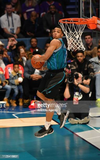 Miles Bridges of the Charlotte Hornets dunks the ball during the 2019 AT&T Slam Dunk Contest during the 2019 AT&T Slam Dunk Contest as part of the...