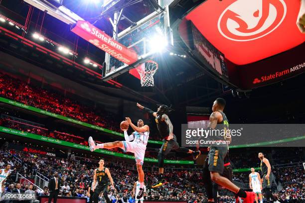 Miles Bridges of the Charlotte Hornets goes to the basket against the Atlanta Hawks on February 9 2019 at State Farm Arena in Atlanta Georgia NOTE TO...
