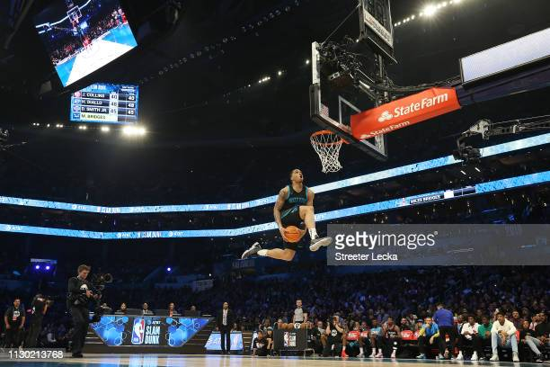 Miles Bridges of the Charlotte Hornets goes up for a dunk during the AT&T Slam Dunk as part of the 2019 NBA All-Star Weekend at Spectrum Center on...