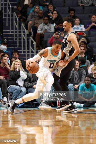 Miles Bridges of the Charlotte Hornets handles the ball against the San Antonio Spurs on March 26 2019 at the Spectrum Center in Charlotte North...