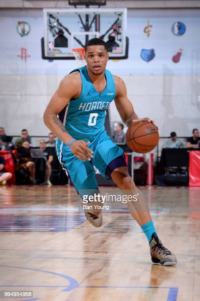 Miles Bridges of the Charlotte Hornets handles the ball against the Boston Celtics during the 2018 Las Vegas Summer League on July 9 2018 at the Cox...