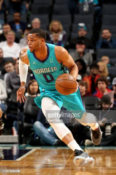 Miles Bridges of the Charlotte Hornets handles the ball during the game against the Minnesota Timberwolves on March 21, 2019 at Spectrum Center in...