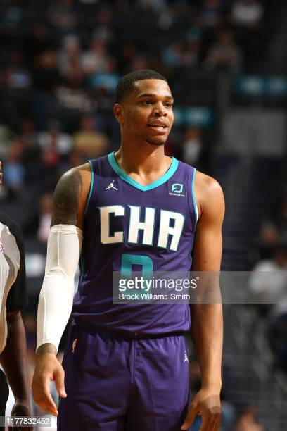 Miles Bridges of the Charlotte Hornets looks on during the game against the Chicago Bulls on October 23, 2019 at Spectrum Center in Charlotte, North...