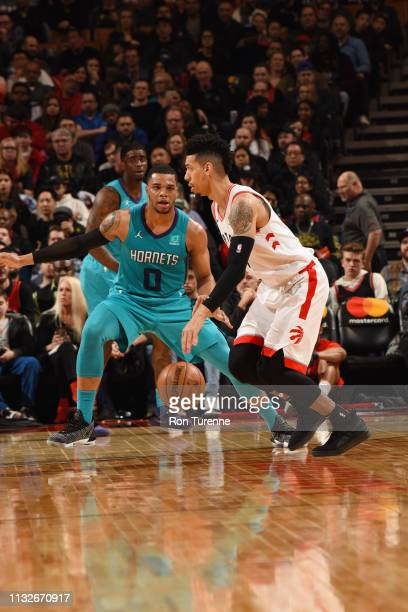 Miles Bridges of the Charlotte Hornets plays defense against during the game against Danny Green of the Toronto Raptors on March 24 2019 at the...