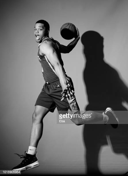 Miles Bridges of the Charlotte Hornets poses for a portrait during the 2018 NBA Rookie Photo Shoot at MSG Training Center on August 12 2018 in...