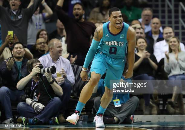 Miles Bridges of the Charlotte Hornets reacts after a play against the Washington Wizards during their game at Spectrum Center on February 22 2019 in...