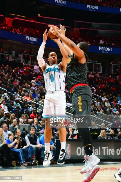 Miles Bridges of the Charlotte Hornets shoots the ball against the Atlanta Hawks on February 9 2019 at State Farm Arena in Atlanta Georgia NOTE TO...