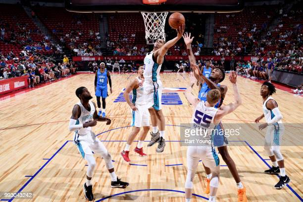 Miles Bridges of the Charlotte Hornets shoots the ball against the Oklahoma City Thunder during the 2018 Las Vegas Summer League on July 6 2018 at...