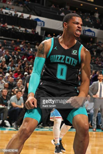 Miles Bridges of the Charlotte Hornets yells and celebrates after a dunk during the game against the Sacramento Kings on January 17, 2019 at Spectrum...