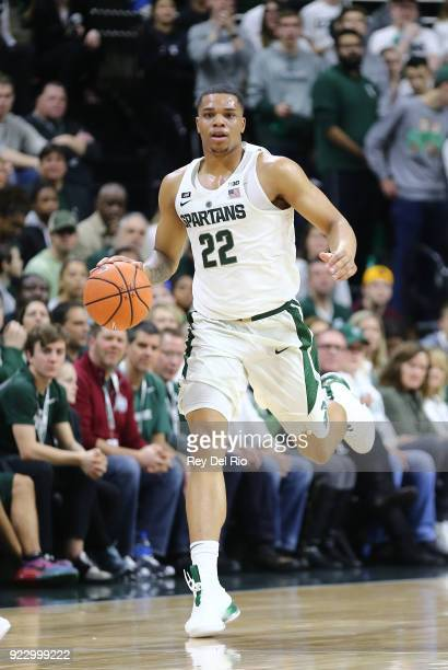 Miles Bridges of the Michigan State Spartans brings the ball up court during a game against the Illinois Fighting Illini at Breslin Center on...