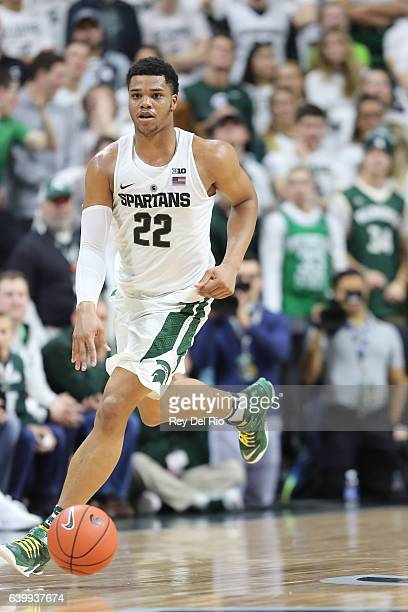 Miles Bridges of the Michigan State Spartans brings the ball up the court against the Purdue Boilermakers at the Breslin Center on January 24 2017 in...