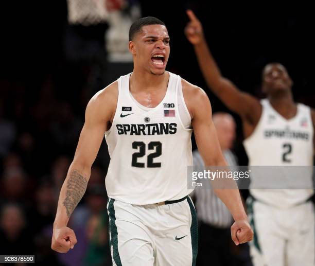 Miles Bridges of the Michigan State Spartans celebrates after Wisconsin Badgers called a time out late in the second half during quarterfinals of the...
