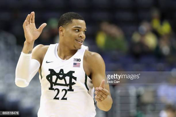 Miles Bridges of the Michigan State Spartans celebrates after scoring against the Penn State Nittany Lions in the second half during the Big Ten...