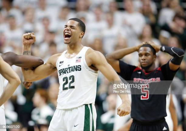 Miles Bridges of the Michigan State Spartans celebrates after the game against the Rutgers Scarlet Knights at Breslin Center on January 10, 2018 in...