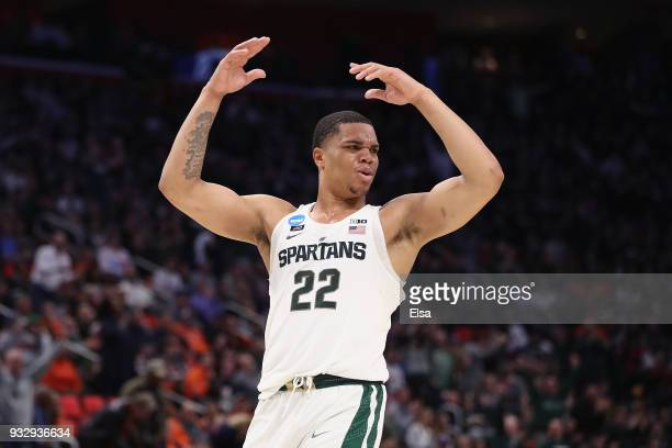 Miles Bridges of the Michigan State Spartans celebrates during the second half against the Bucknell Bison in the first round of the 2018 NCAA Men's...