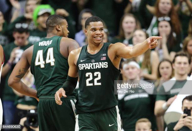 Miles Bridges of the Michigan State Spartans celebrates his basket during the game against the Nebraska Cornhuskers in the second half at the Breslin...