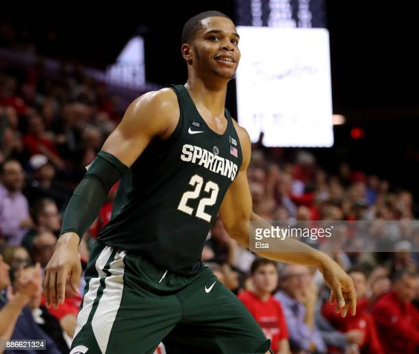 Miles Bridges of the Michigan State Spartans celebrates his three point shot in the second half against the Rutgers Scarlet Knights on December 5,...