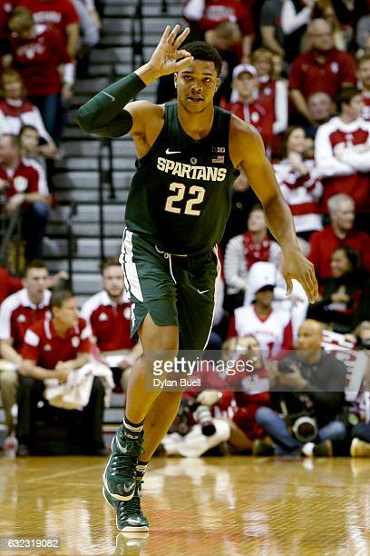 Miles Bridges of the Michigan State Spartans celebrates in the first half against the Indiana Hoosiers at Assembly Hall on January 21 2017 in...