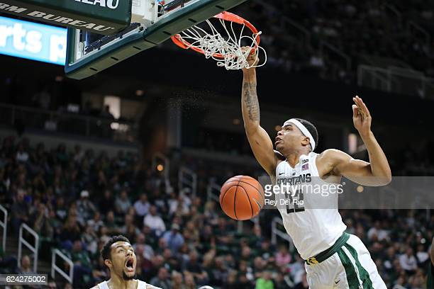 Miles Bridges of the Michigan State Spartans dunks during the game against the Mississippi Valley State Delta Devils at the Breslin Center on...