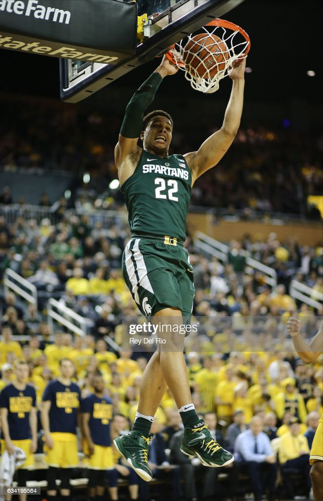 Miles Bridges #22 of the Michigan State Spartans dunks during the game against the Michigan Wolverines at Crisler Arena on February 7, 2017 in Ann Arbor, Michigan.