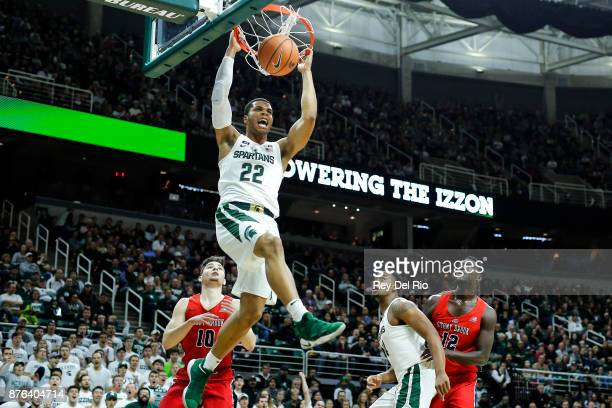 Miles Bridges of the Michigan State Spartans dunks during the game against the Stony Brook Seawolves at Breslin Center on November 19 2017 in East...