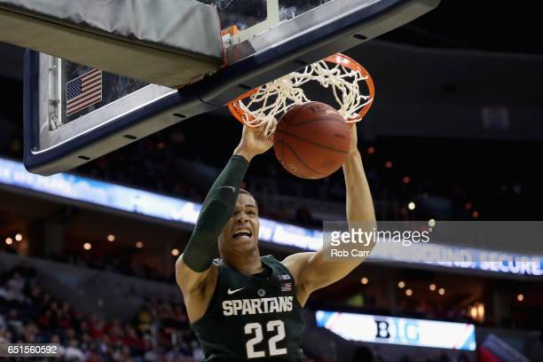 Miles Bridges of the Michigan State Spartans dunks the ball against the Minnesota Golden Gophers during the Big Ten Basketball Tournament at Verizon...