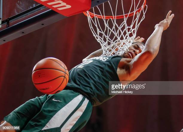 Miles Bridges of the Michigan State Spartans dunks the ball against the Illinois Fighting Illini at State Farm Center on January 22, 2018 in...