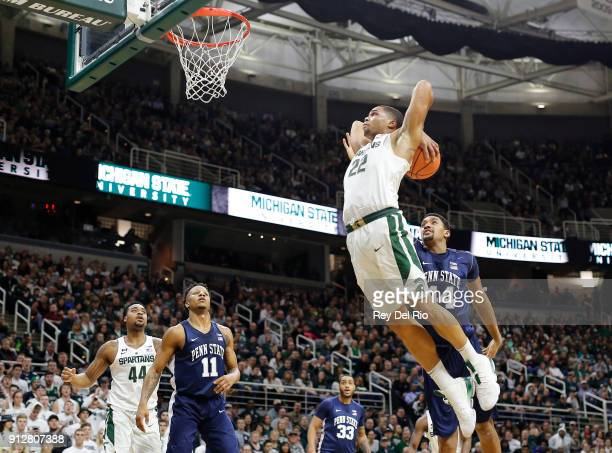 Miles Bridges of the Michigan State Spartans dunks the ball during a game against the Penn State Nittany Lions at Breslin Center on January 31 2018...