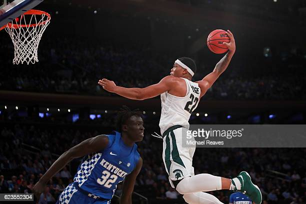 Miles Bridges of the Michigan State Spartans goes up for a dunk in the second half during the State Farm Champions Classic at Madison Square Garden...