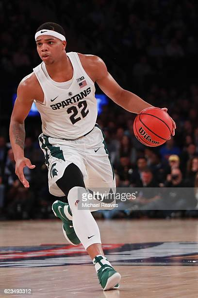 Miles Bridges of the Michigan State Spartans in action against the Kentucky Wildcats in the second half during the State Farm Champions Classic at...