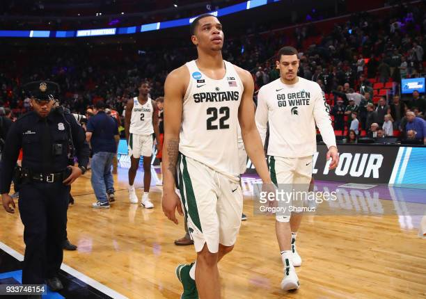 Miles Bridges of the Michigan State Spartans reacts after being defeated by the Syracuse Orange 5553 in the second round of the 2018 NCAA Men's...