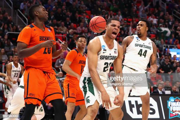 Miles Bridges of the Michigan State Spartans reacts during the second half against the Bucknell Bison in the first round of the 2018 NCAA Men's...