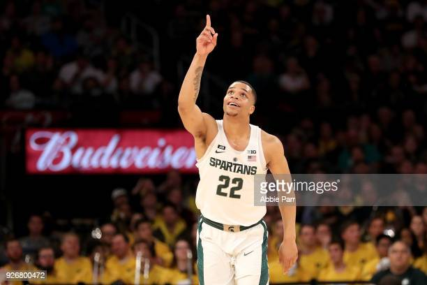 Miles Bridges of the Michigan State Spartans reacts in the first half against the Michigan Wolverines during semifinals of the Big 10 Basketball...