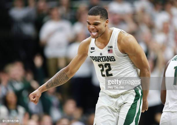 Miles Bridges of the Michigan State Spartans reacts to a play during a game against the Penn State Nittany Lions in the second half at Breslin Center...