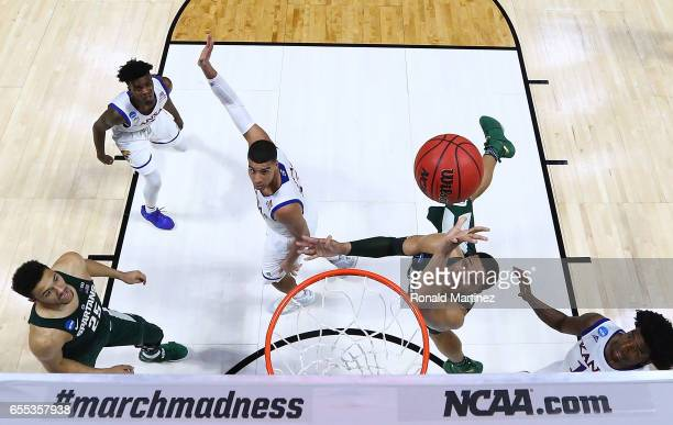 Miles Bridges of the Michigan State Spartans takes a shot against the Kansas Jayhawks during the second round of the 2017 NCAA Men's Basketball...