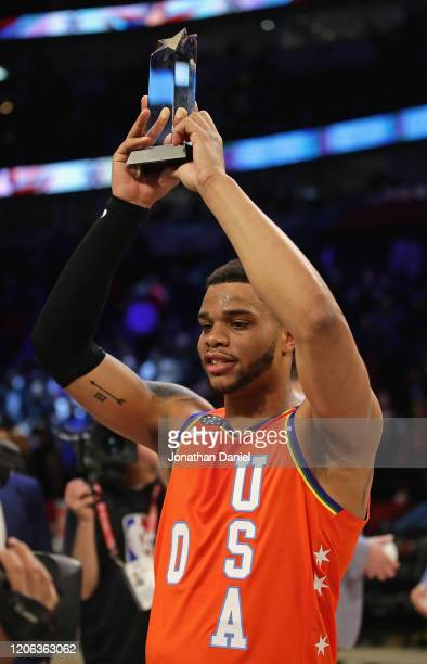 Miles Bridges of the USA holds the Most Valuable Player trophy and a win over the World at the United Center on February 14, 2020 in Chicago,...