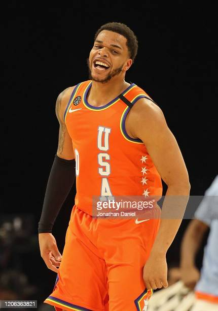 Miles Bridges of the USA reacts after dunking against the World at the United Center on February 14 2020 in Chicago Illinois The USA defeated the...