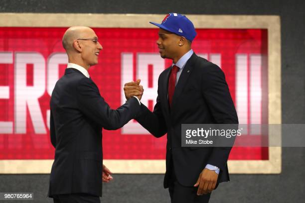 Miles Bridges poses with NBA Commissioner Adam Silver after being drafted 12th overall by the Los Angeles Clippers during the 2018 NBA Draft at the...