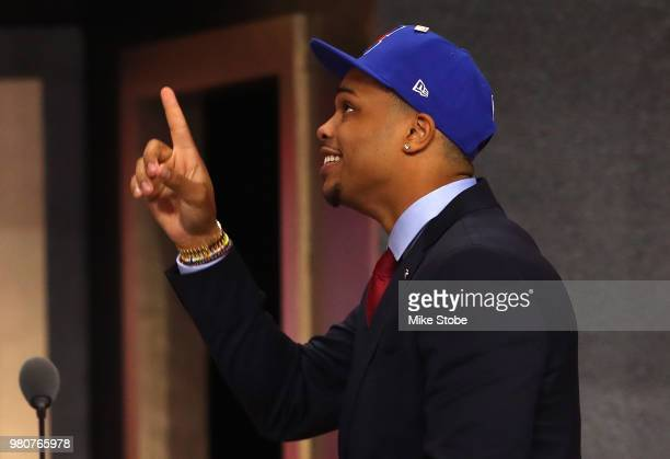 Miles Bridges reacts after being drafted 12th overall by the Los Angeles Clippers during the 2018 NBA Draft at the Barclays Center on June 21 2018 in...